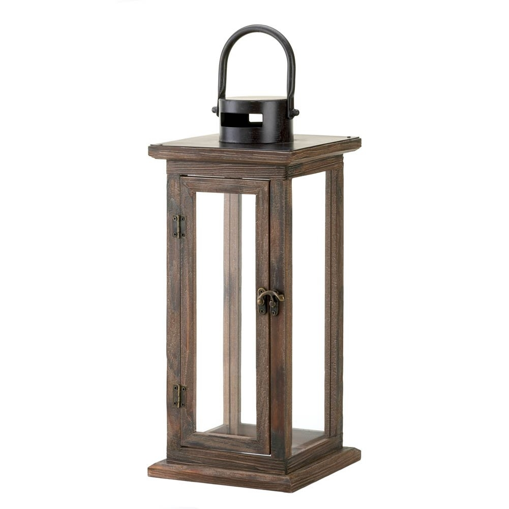 Inspiration about Decorative Candle Lanterns, Large Wood Rustic Outdoor Candle Lantern Within Hanging Outdoor Tea Light Lanterns (#3 of 15)