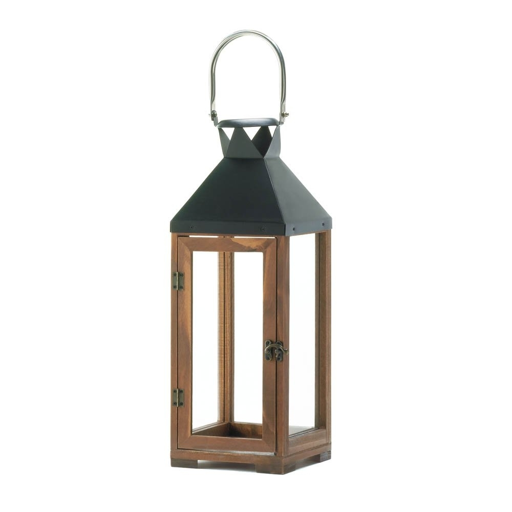 Decorative Candle Lanterns, Pine Wood Rustic Wooden Candle Lantern Pertaining To Outdoor Hanging Candle Lanterns (#6 of 15)