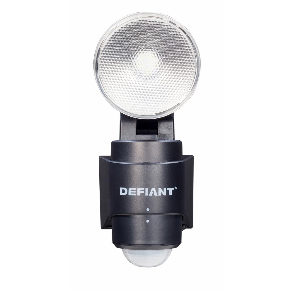 Defiant 180 Degree 1 Head Black Led Motion Sensing Battery Power In Battery Operated Outdoor Lights At Home Depot (#5 of 15)