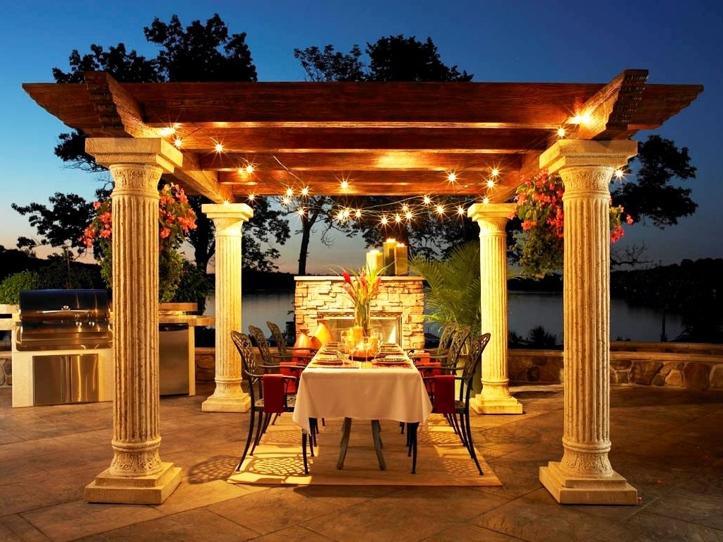 Inspiration about Deluxe Exterior Oak Wood Topper And Concrete Pillars Gazebo With Outdoor Hanging Lights For Gazebos (#8 of 15)