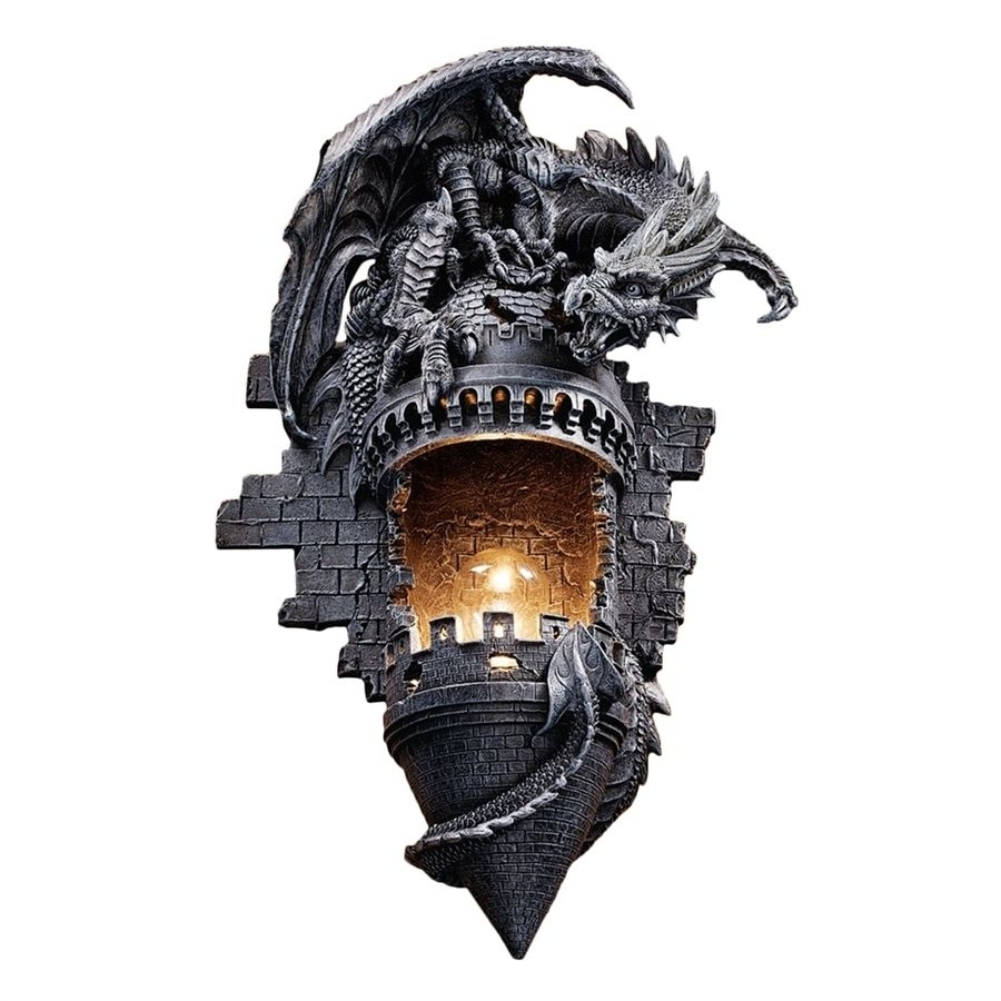 Inspiration about Design Toscano Dragon's Castle Lair 12 In W 1 Light Gothic Stone Intended For Gothic Outdoor Wall Lighting (#12 of 15)