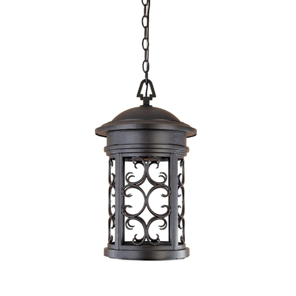 Designers Fountain Chambery Oil Rubbed Bronze Outdoor Hanging Lamp Within Outdoor Hanging Lighting Fixtures At Home Depot (View 11 of 15)