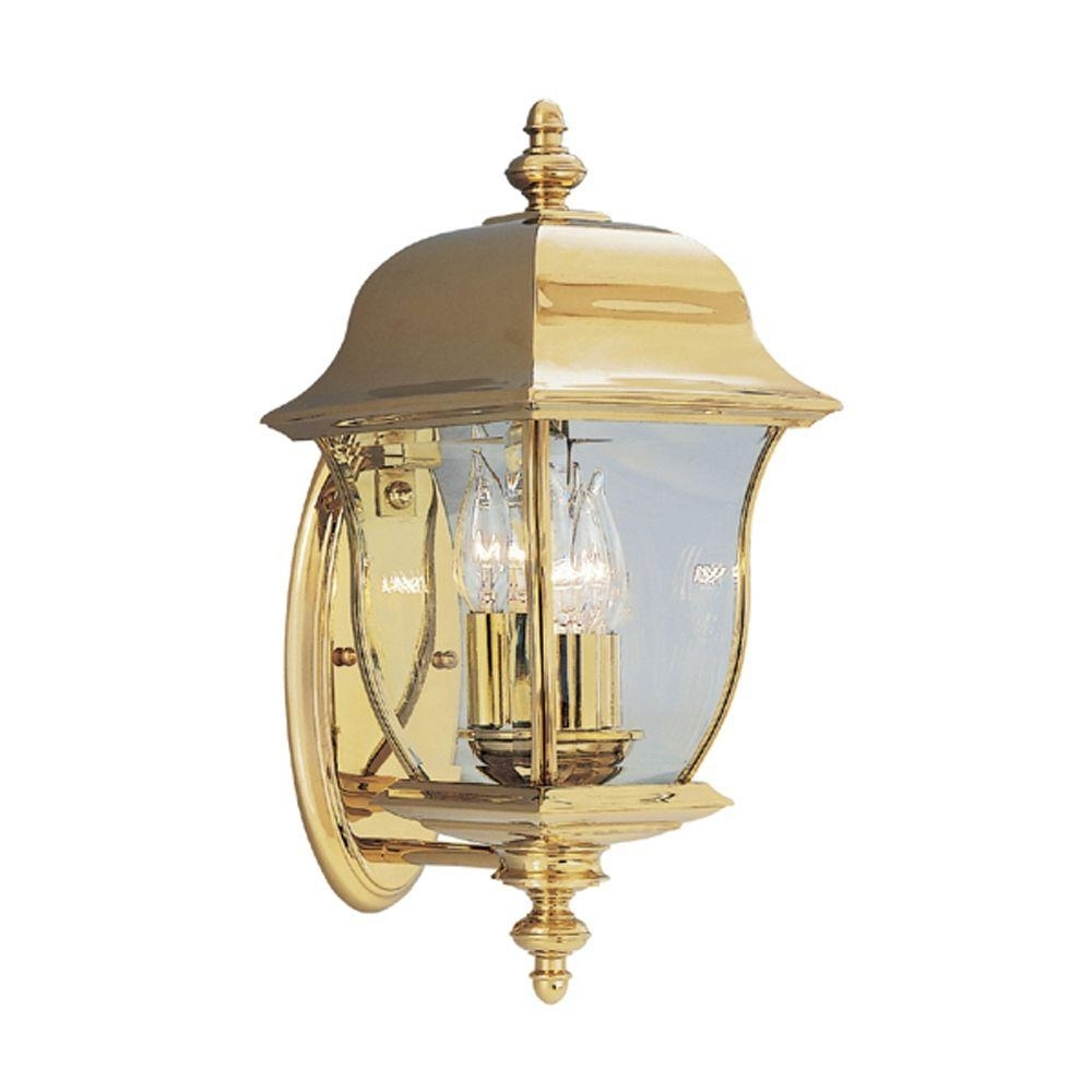 Inspiration about Designers Fountain Oak Harbor 3 Light Polished Brass Outdoor Wall Pertaining To Brass Outdoor Ceiling Lights (#4 of 15)