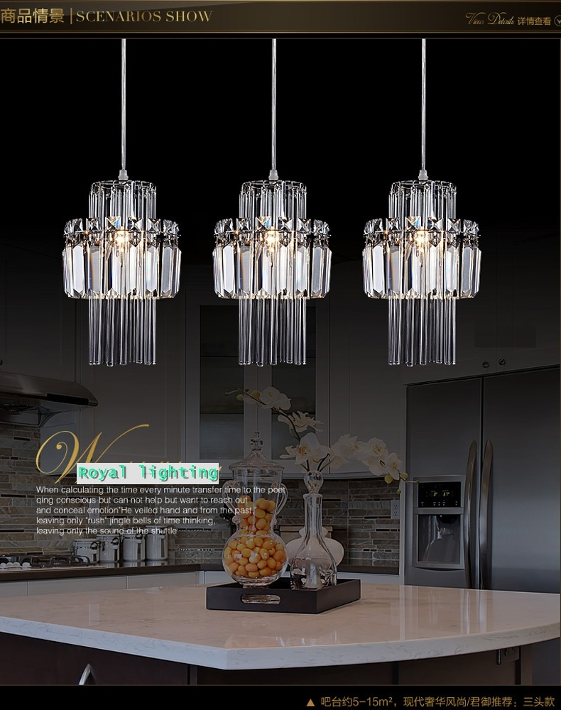 Inspiration about Dining Room Pendant Crystal Lamp 3 Lights Hanging Lighting Throughout Outdoor Hanging Bar Lights (#9 of 15)