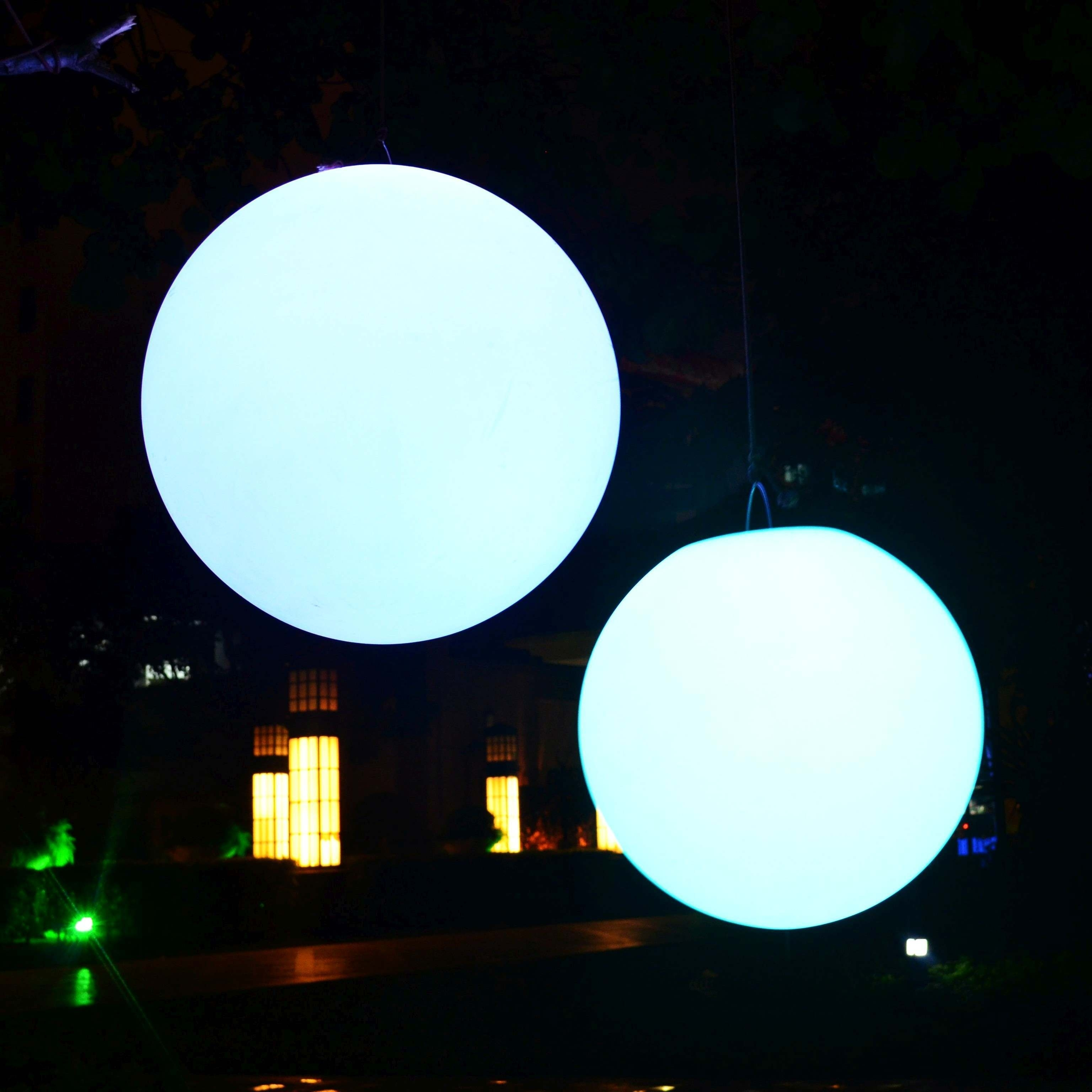 Diy : Giant Led Floating Pool Ball Lights Green Outdoor Hanging Bulb Regarding Outdoor Hanging Globe Lights (View 3 of 15)