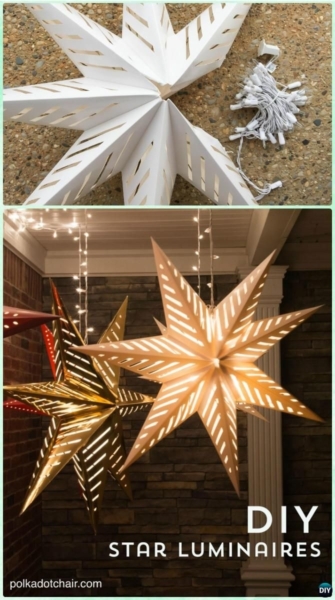 Diy Hanging Star Luminary Christmas Lights Instruction  Diy Inside Outdoor Hanging Ornament Lights (#4 of 15)
