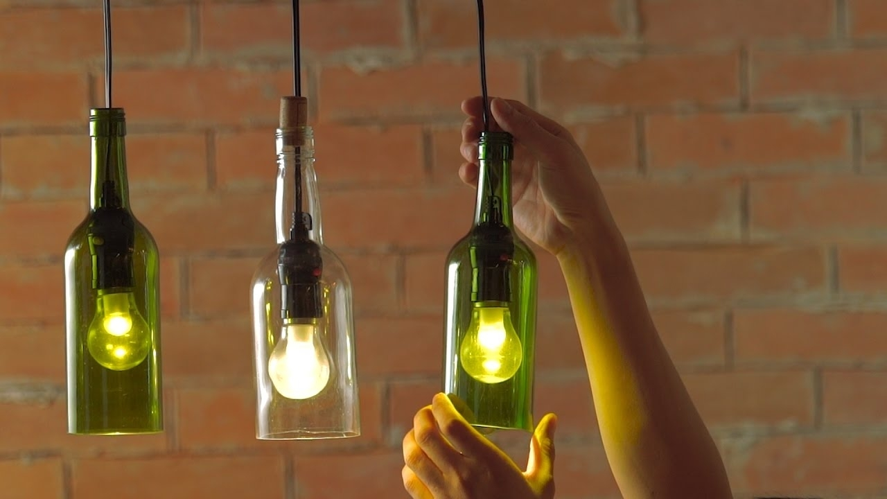 Diy Hanging Wine Bottle Pendants – Youtube In Making Outdoor Hanging Lights From Wine Bottles (#5 of 15)