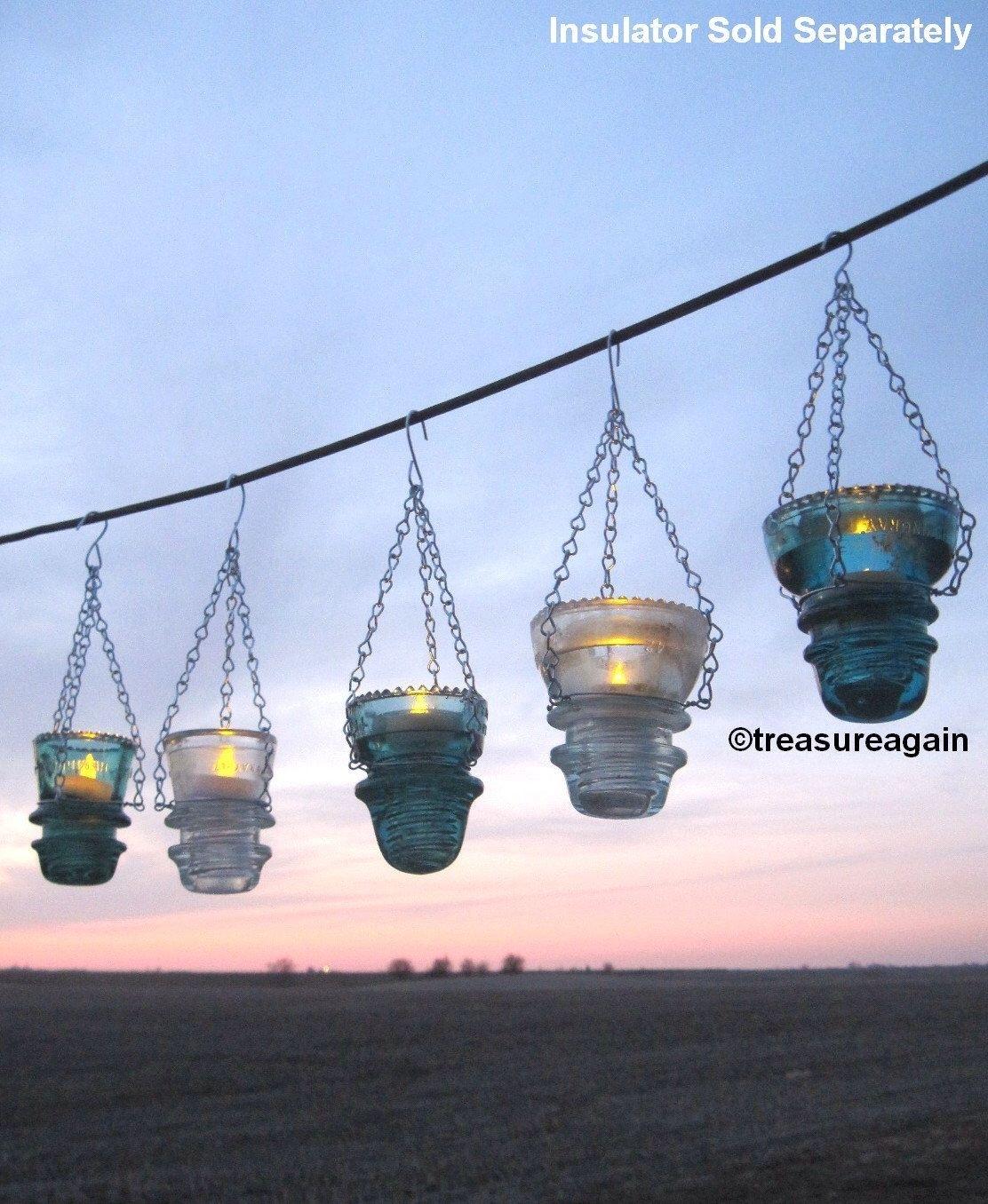 Diy Insulator Hanger Lantern Tea Light Holder, Outdoor Hanging Intended For Outdoor Hanging Tea Lights (View 10 of 12)