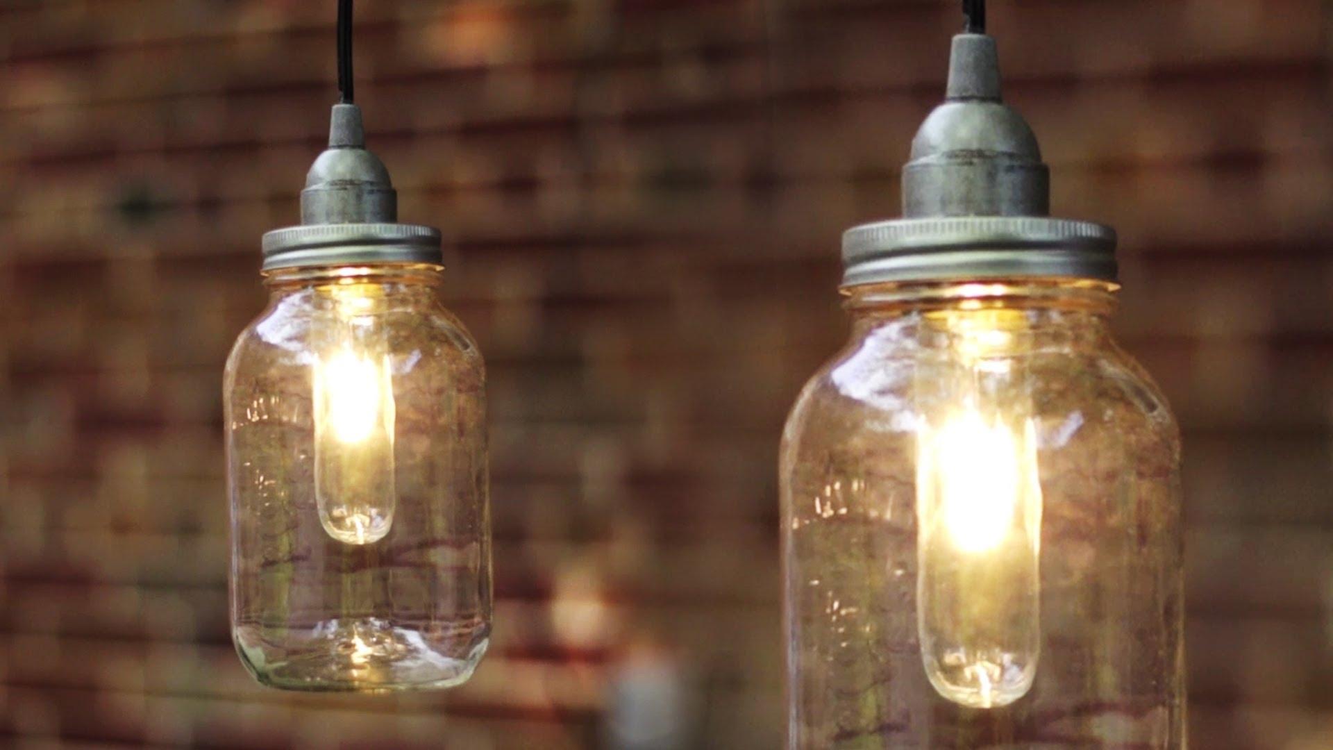 Diy Mason Jar Light / Lantern – Youtube In Outdoor Hanging Mason Jar Lights (View 2 of 15)