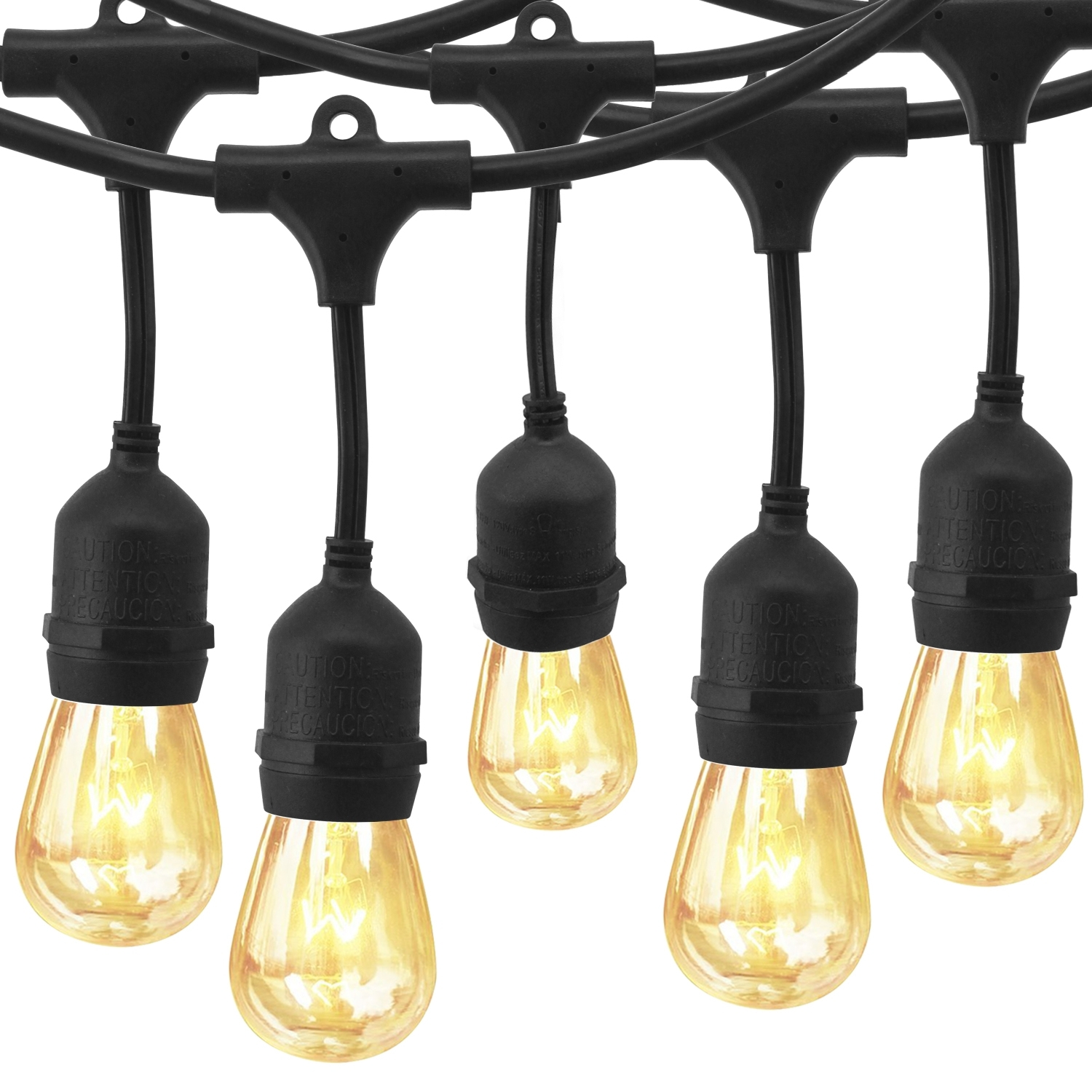 Eagwell Outdoor Commercial String Lights With 24 Hanging Sockets Inside Commercial Grade Outdoor Hanging Lights (#6 of 15)