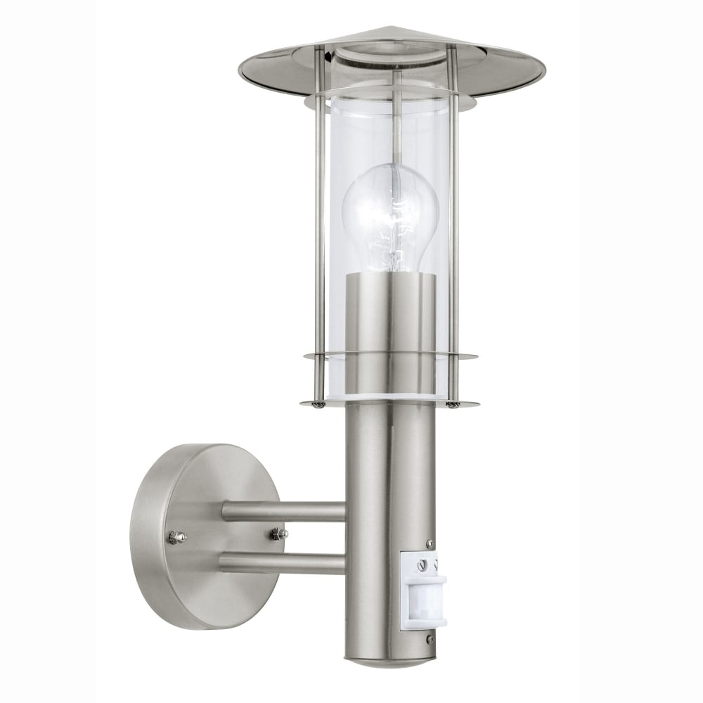 Eglo 30185 Lisio Pir Outdoor Ip44 Stainless Steel Wall Light With Regard To Outdoor Pir Wall Lights (#6 of 15)