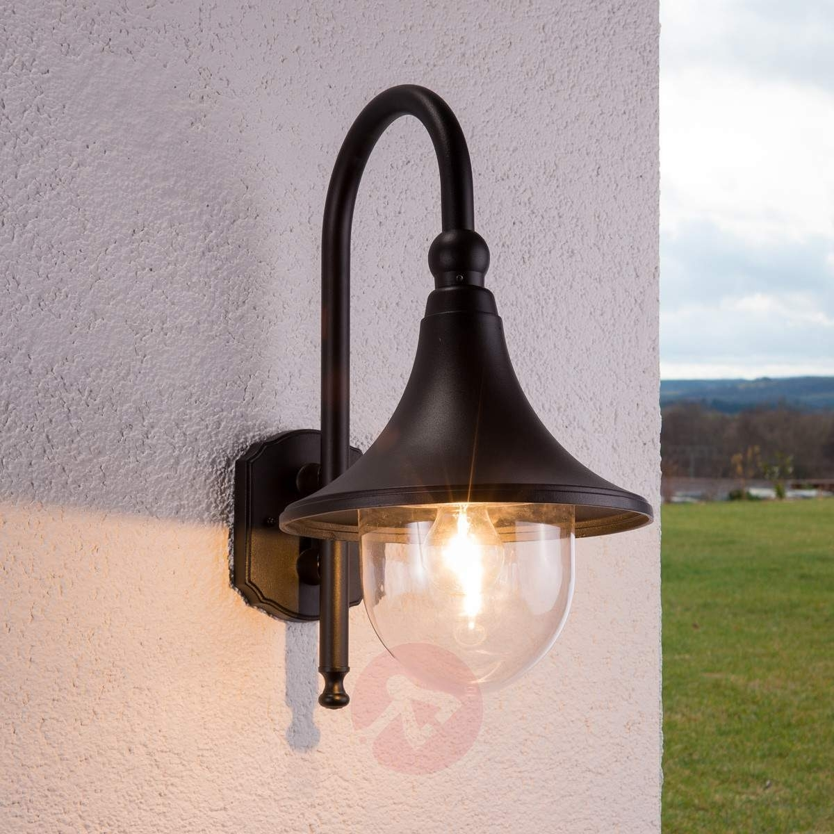 Elegant Daphne Outdoor Wall Light In Black | Lights.co (View 1 of 15)