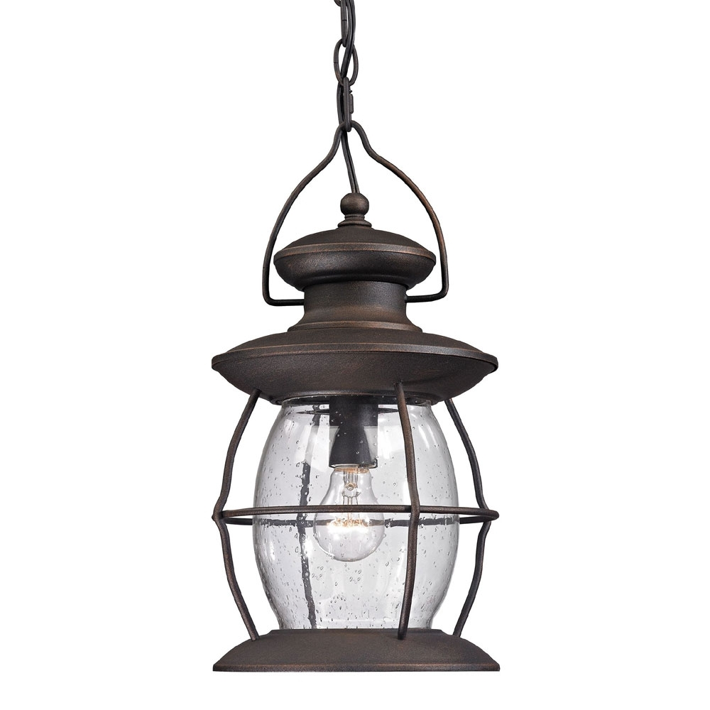 Elk 47043 1 Village Lantern Traditional Weathered Charcoal Outdoor Inside Outdoor Hanging Lamps (View 14 of 15)