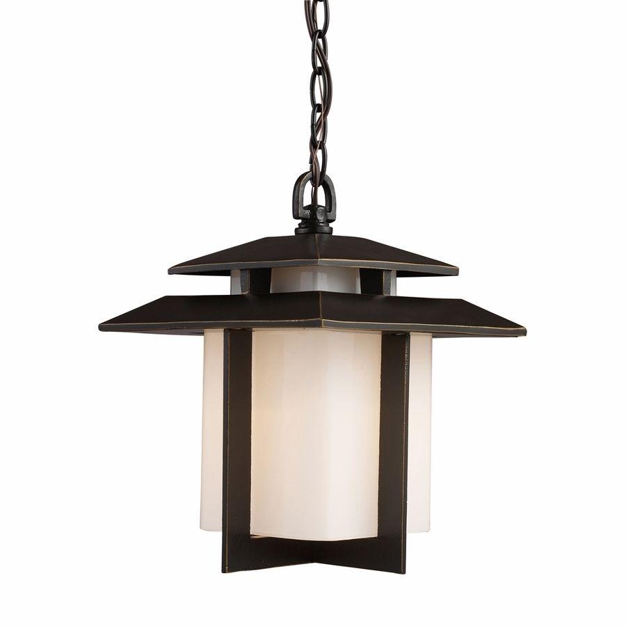 Elk Lighting Kanso 1 Light Outdoor Pendant In Hazelnut Bronze Inside Modern Outdoor Hanging Lights (#2 of 15)