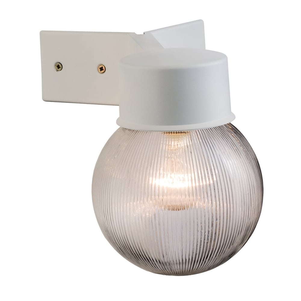 Endon 61242 Ware Outdoor Ribbed Globe Corner Mounted Wall Light White With Outdoor Corner Wall Lighting (#4 of 15)