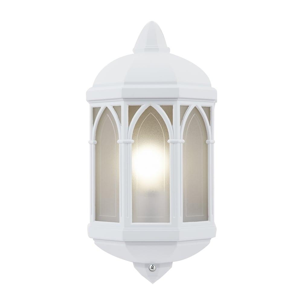 Endon Lighting Brighton Single Light Half Wall Lantern In Matt White Pertaining To Endon Lighting Outdoor Wall Lanterns (#3 of 15)