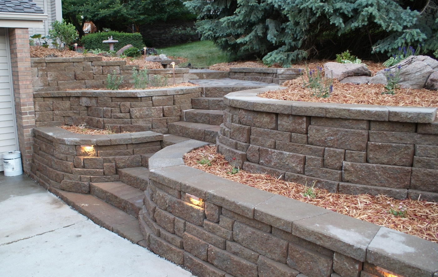 Expocrete 8 In X 4 In Stackstone Coping Basic Retaining Wall Block With Outdoor Block Wall Lighting (#5 of 15)