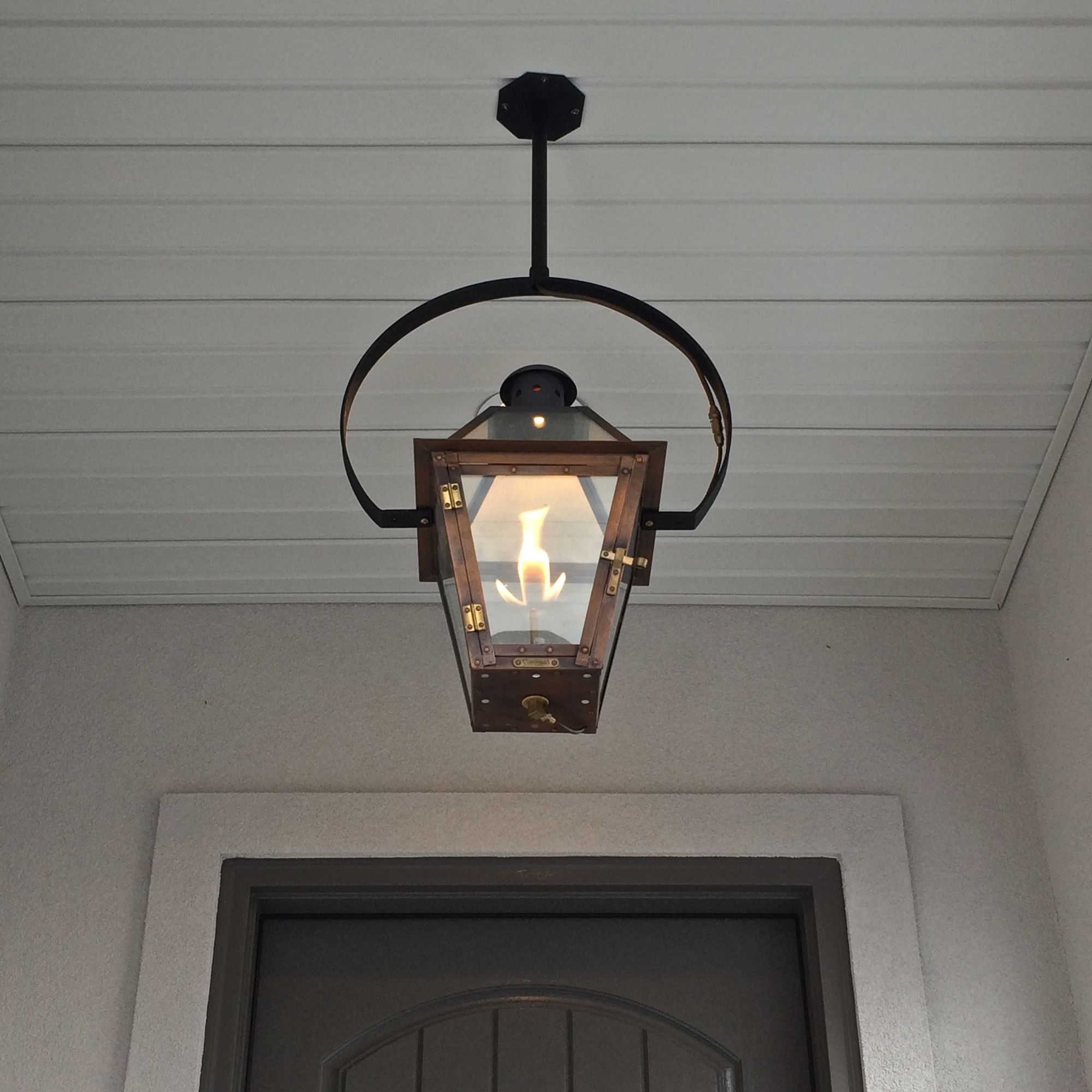 Exterior Entryway Large Hanging Gas Lantern Estess Contractors With Regard To Outdoor Wall Gas Lights (#5 of 15)