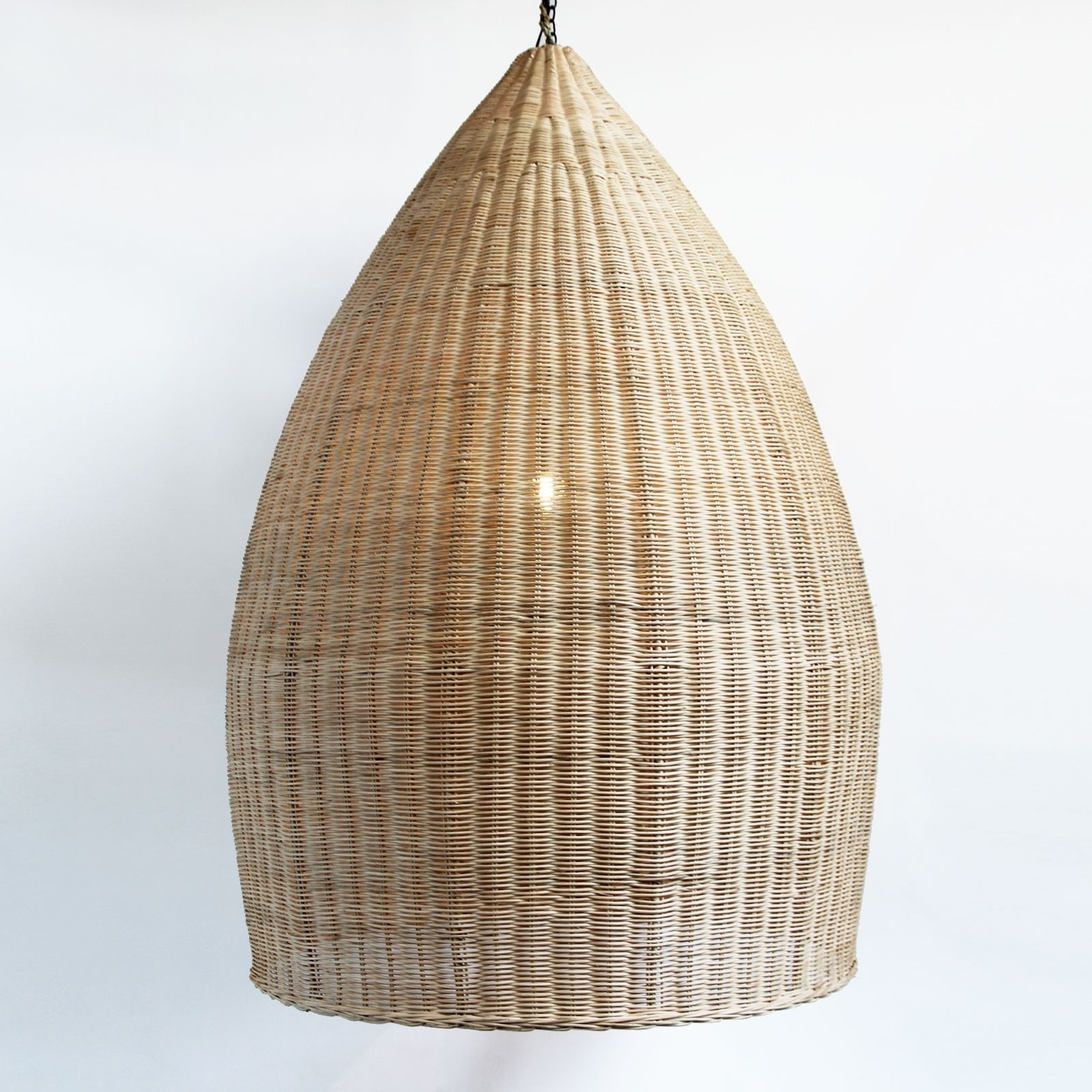 Extra Large Hand Woven Pod Lantern In Natural Raw Rattan (View 10 of 15)