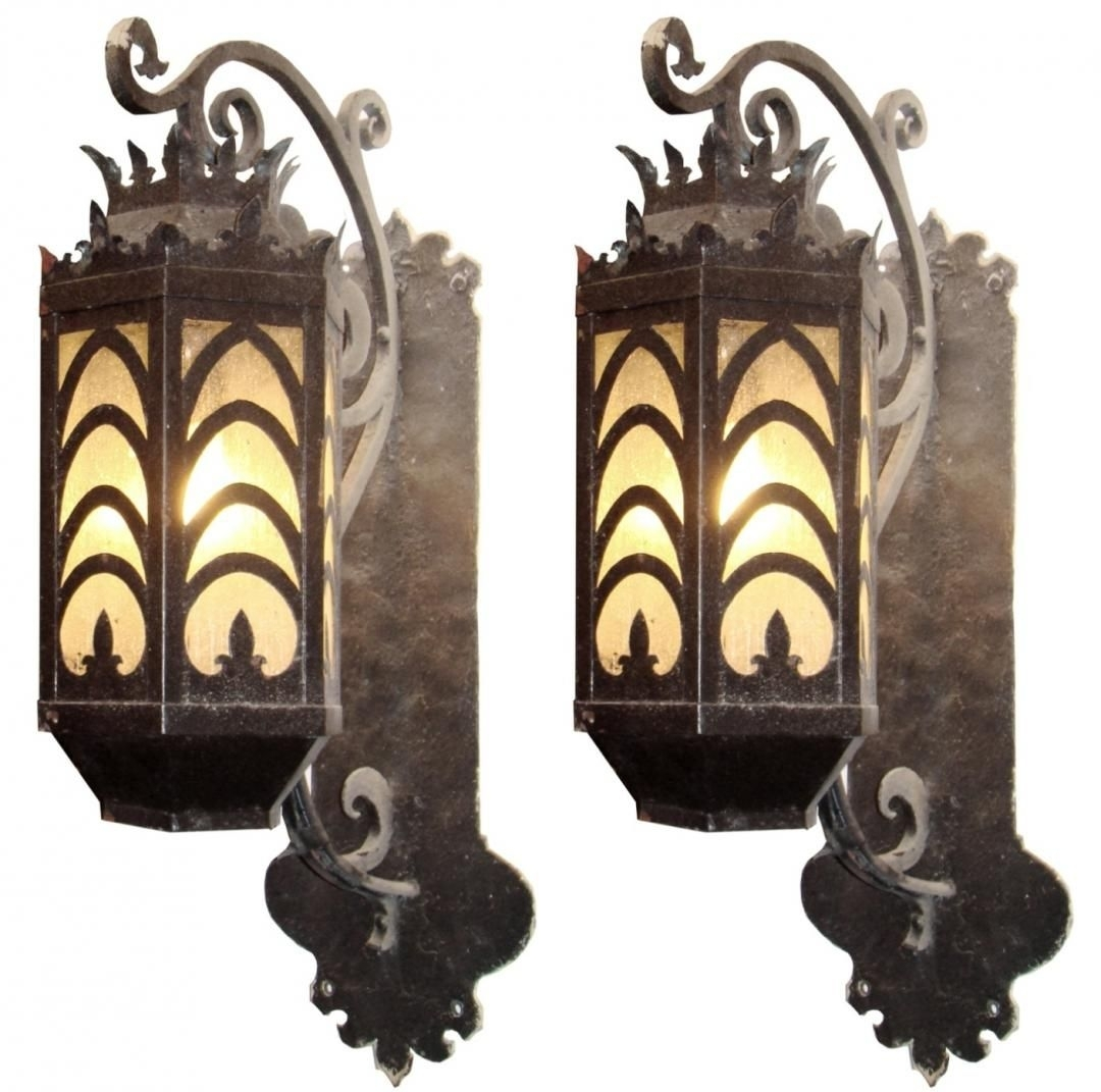 Fabulous Pair Of Large Iron Art Deco Exterior Sconces | Lighting Inside Art Deco Outdoor Wall Lights (#11 of 15)