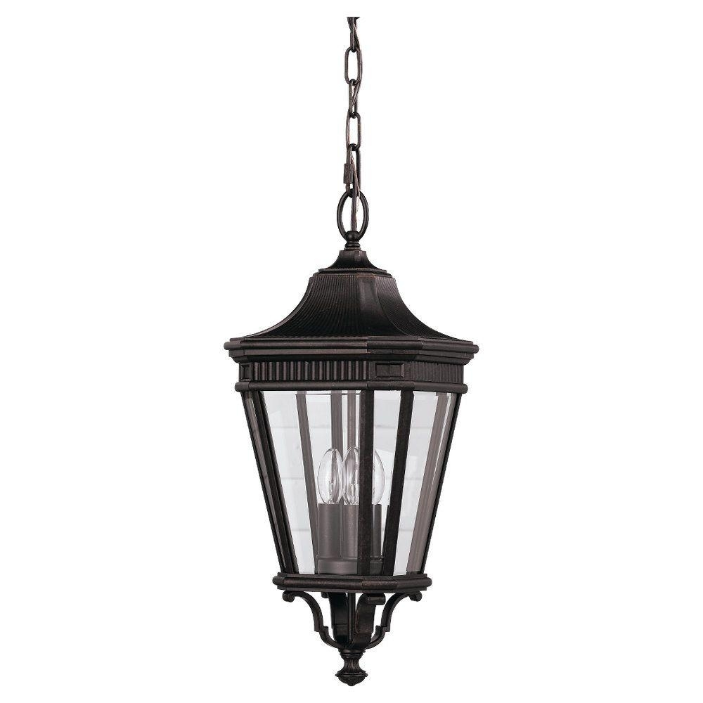 Feiss Cotswold Lane 3 Light Grecian Bronze Outdoor Hanging Pendant With Regard To Outdoor Entrance Ceiling Lights (#5 of 15)