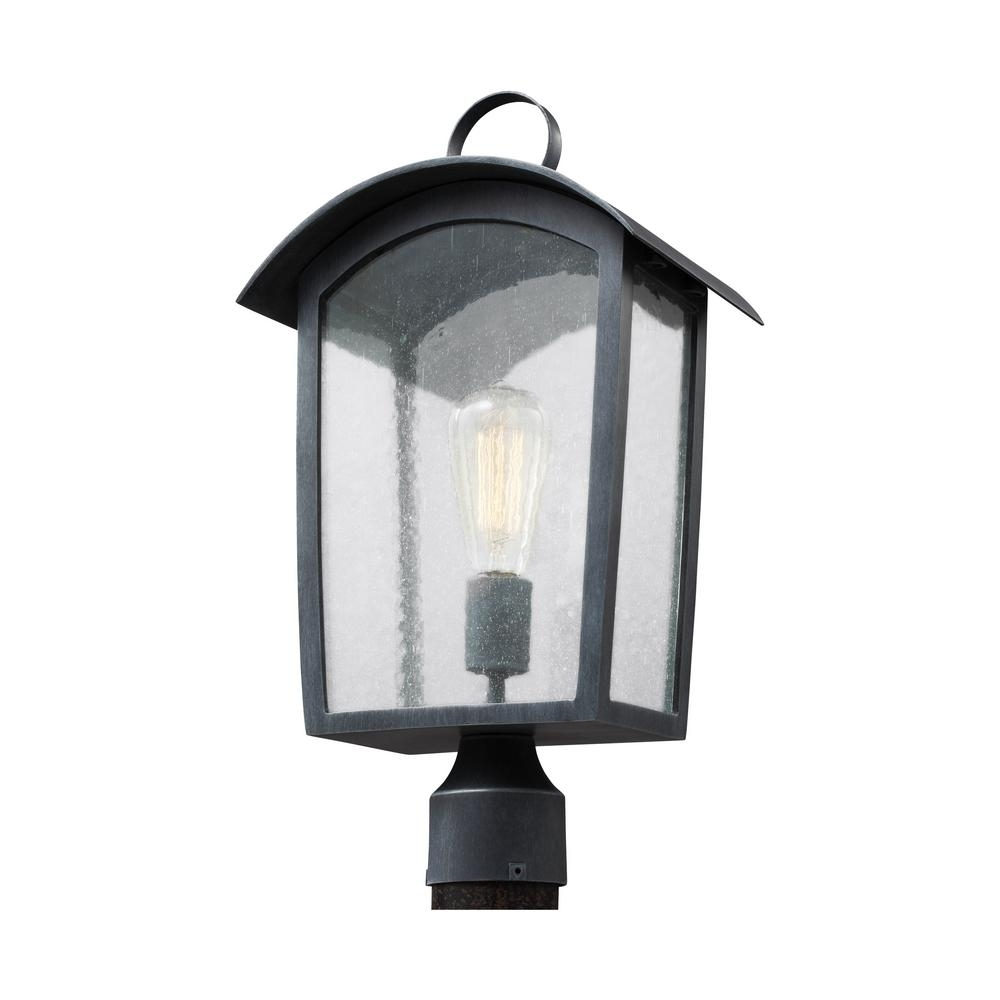 Feiss Hodges Collection 1 Light Ash Black Outdoor Post Light In Outdoor Hanging Post Lights (#4 of 15)