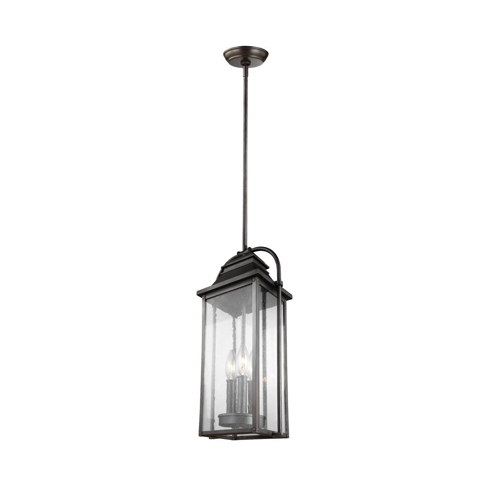 Feiss Wellsworth 3 Light Antique Bronze Outdoor Hanging Pendant Intended For Antique Outdoor Hanging Lights (#5 of 15)