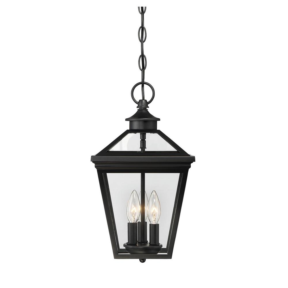 Filament Design 3 Light Black Outdoor Hanging Lantern Ect Sh260797 Inside Outdoor Hanging Light Fixtures In Black (View 11 of 15)