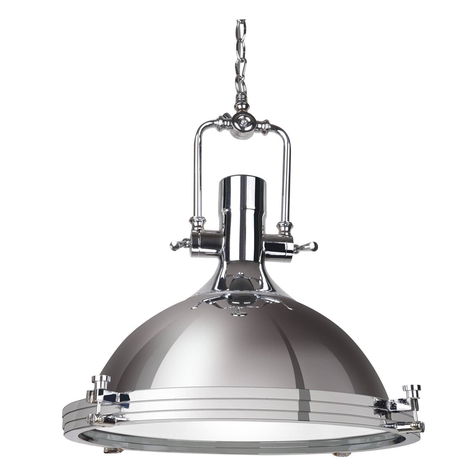Find Cafe Lighting 40Cm 240V Turner Pendant Light – Chrome At Throughout Outdoor Ceiling Lights At Bunnings (#6 of 15)