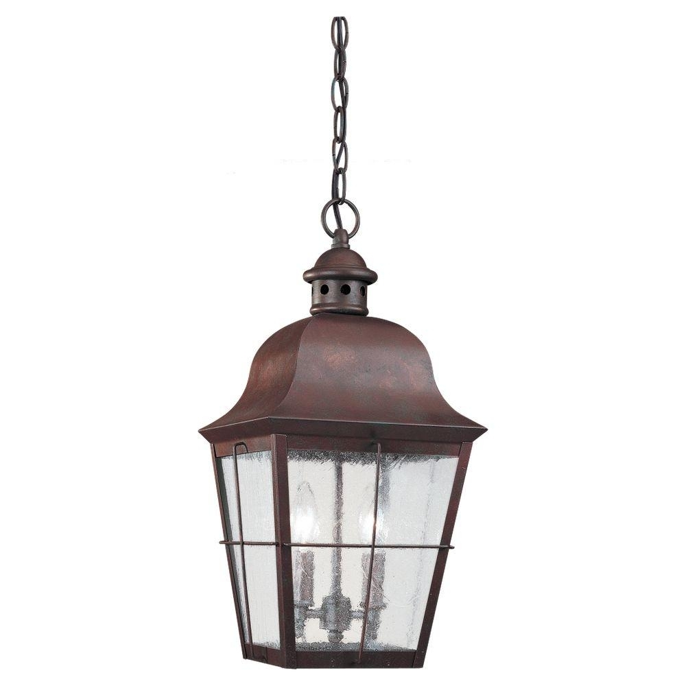 Fireplace : Sea Gull Lighting Chatham Light Weathered Copper Outdoor In Outdoor Hanging Lighting Fixtures At Home Depot (#4 of 15)