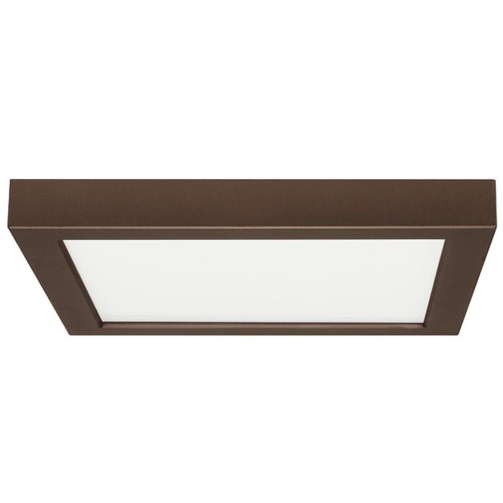 Flush Mount Led Light Square Bronze 9 Inch 2700K 120V | 8342 27 Bz Within Low Profile Outdoor Ceiling Lights (#3 of 15)