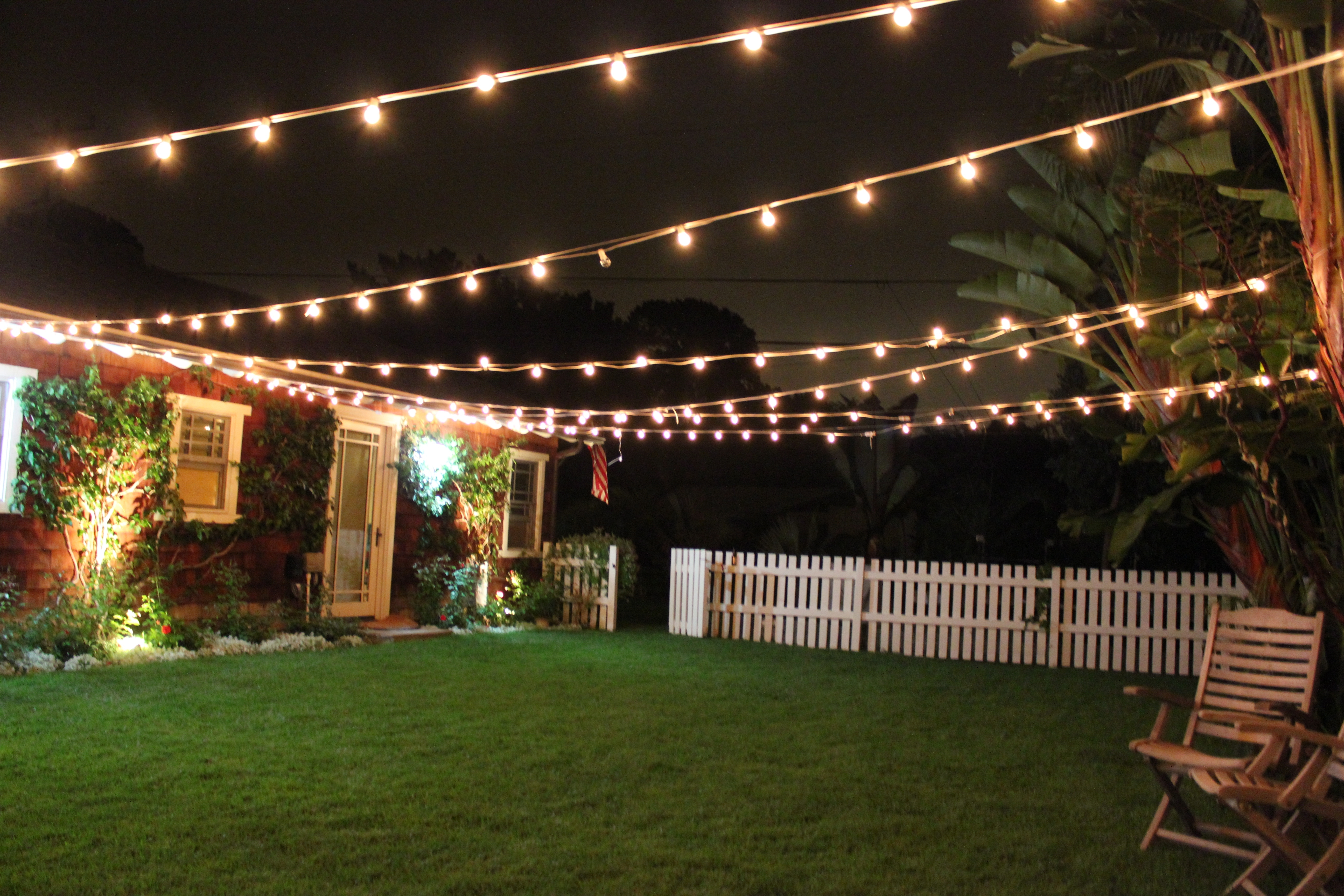 Furniture : Backyard With Lights Outdoor Party Lighting Ideas Shot With Regard To Hanging Outdoor Cafe Lights (#4 of 15)