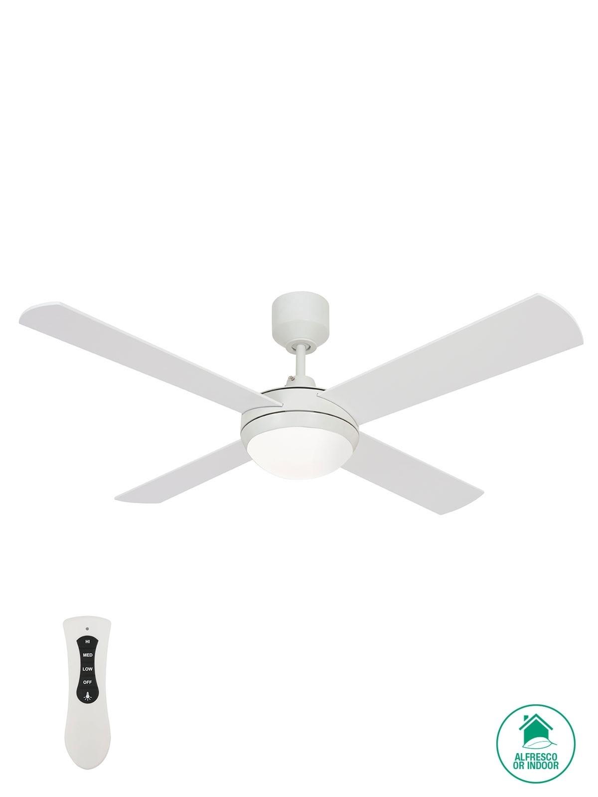Futura Eco 132Cm Fan With Led Light In White Inside Outdoor Ceiling Fan Beacon Lighting (#10 of 15)