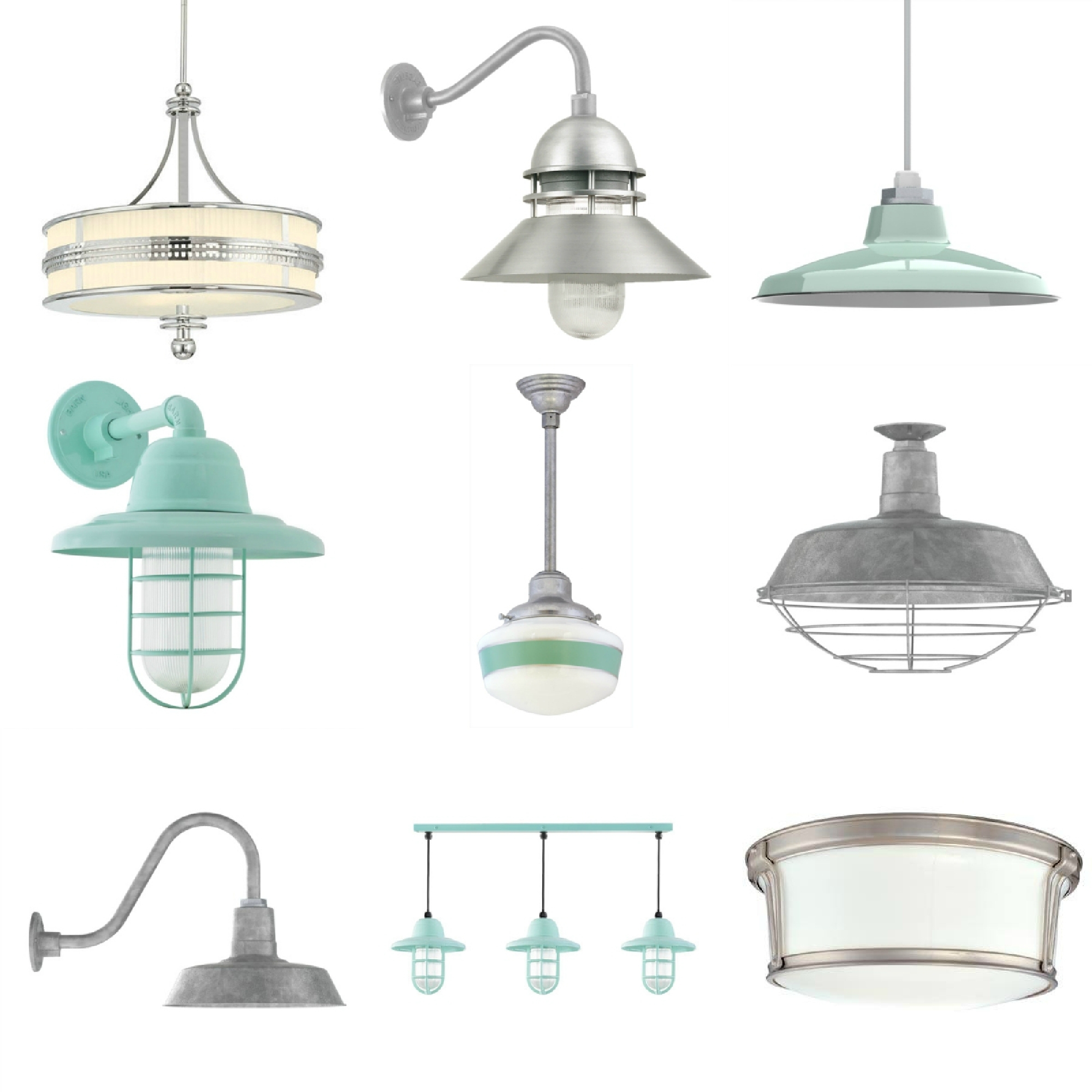 Galvanized Pendant Barn Light (#9 of 15)