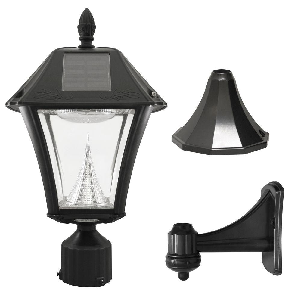 Gama Sonic Baytown Ii Outdoor Black Resin Solar Post/wall Light With Regarding Modern Led Post Lights At  Home Depot (#3 of 15)