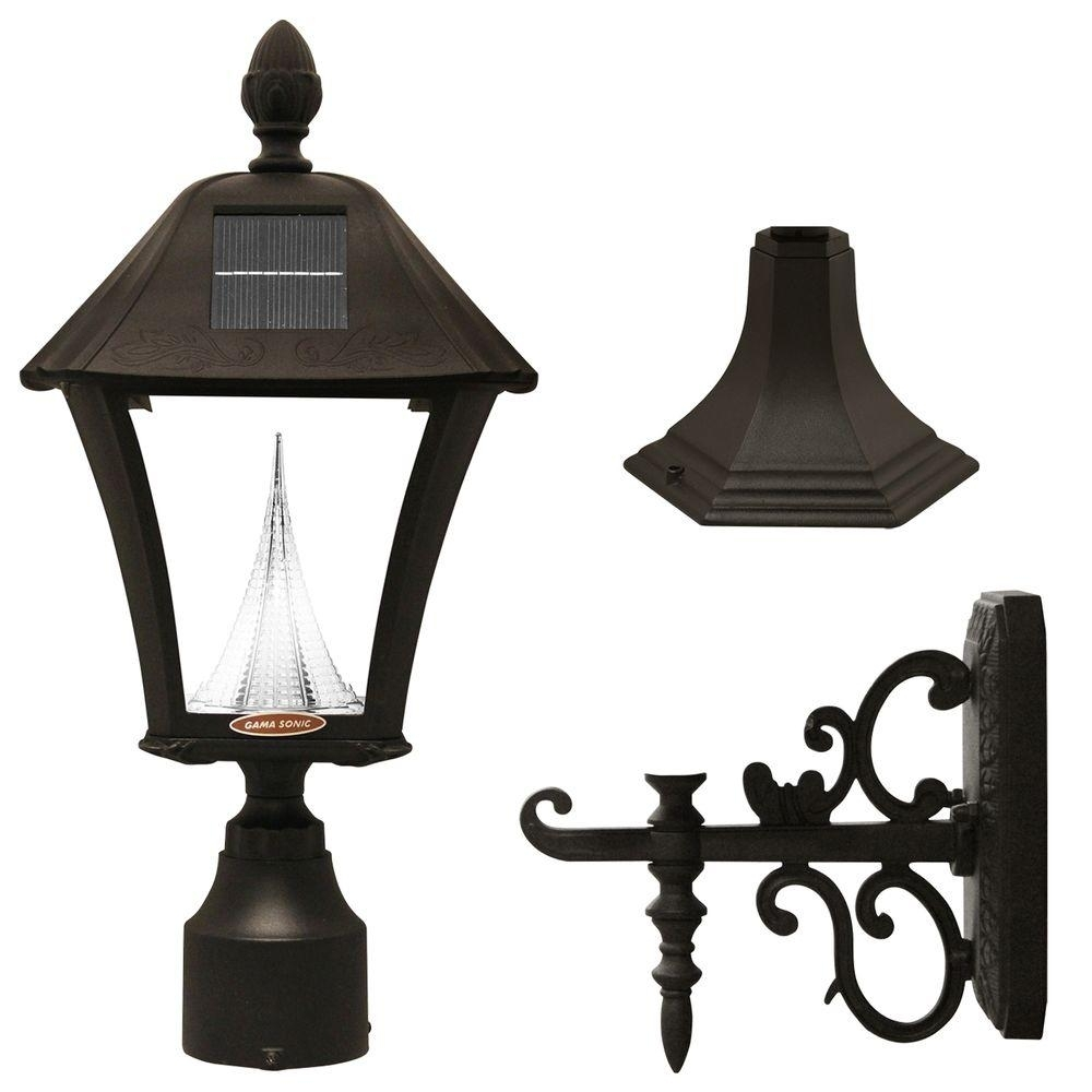 Gama Sonic Baytown Solar Black Outdoor Post/wall Light With Bright For Solar Outdoor Wall Light Fixtures (#4 of 15)