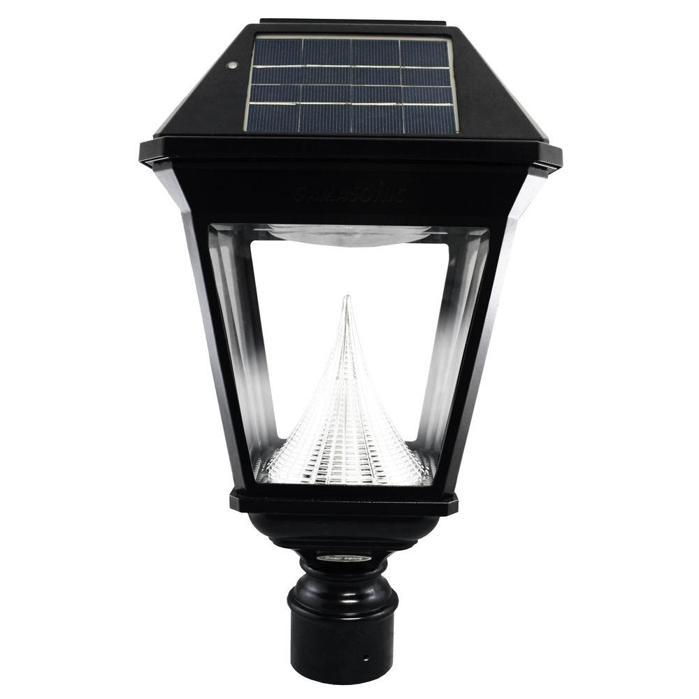 Gama Sonic Imperial Ii Solar Black Outdoor Integrated Led Post Light Regarding Modern Led Post Lights At  Home Depot (#4 of 15)