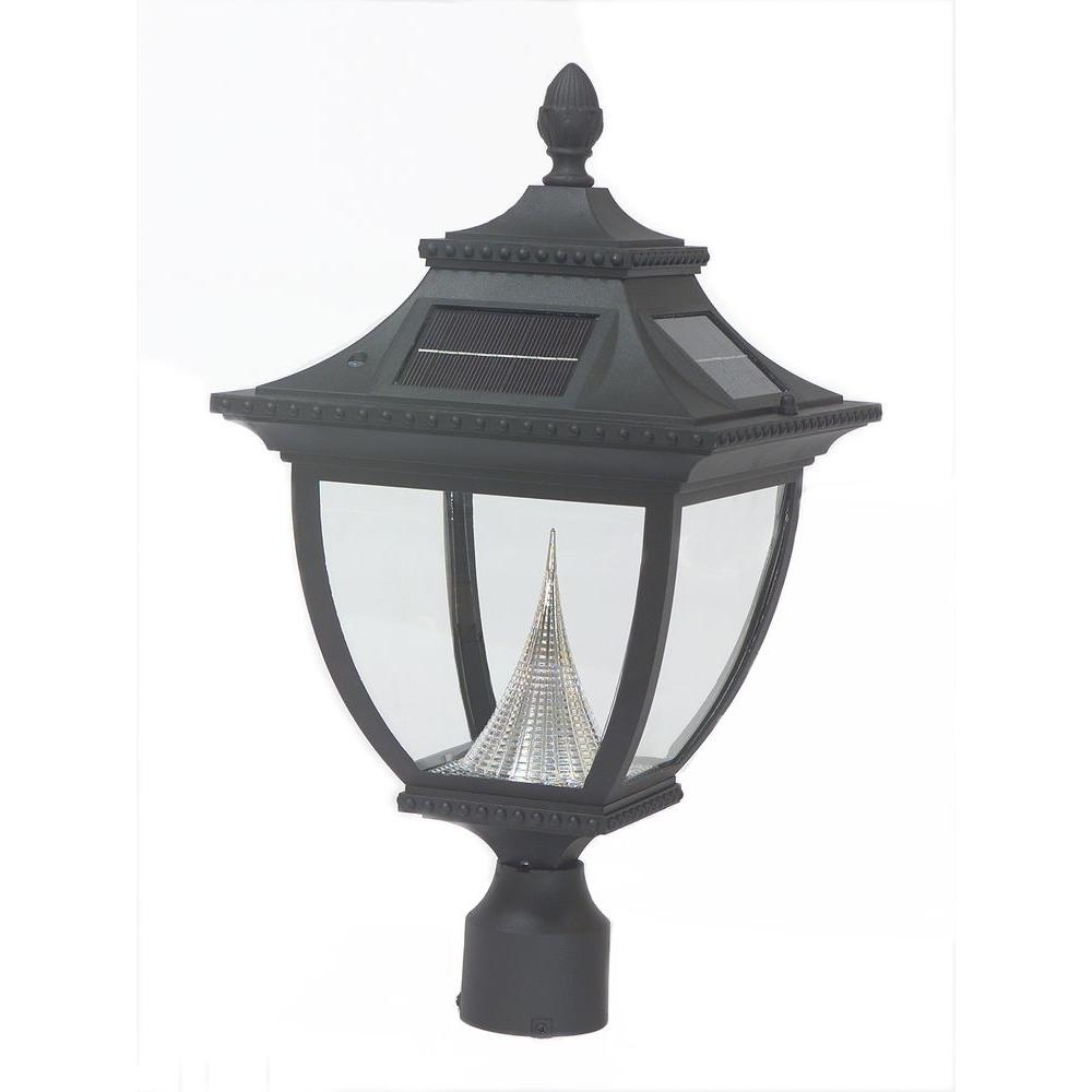 Gama Sonic Pagoda Solar Black Outdoor Led Post Light On 3 In (View 6 of 15)