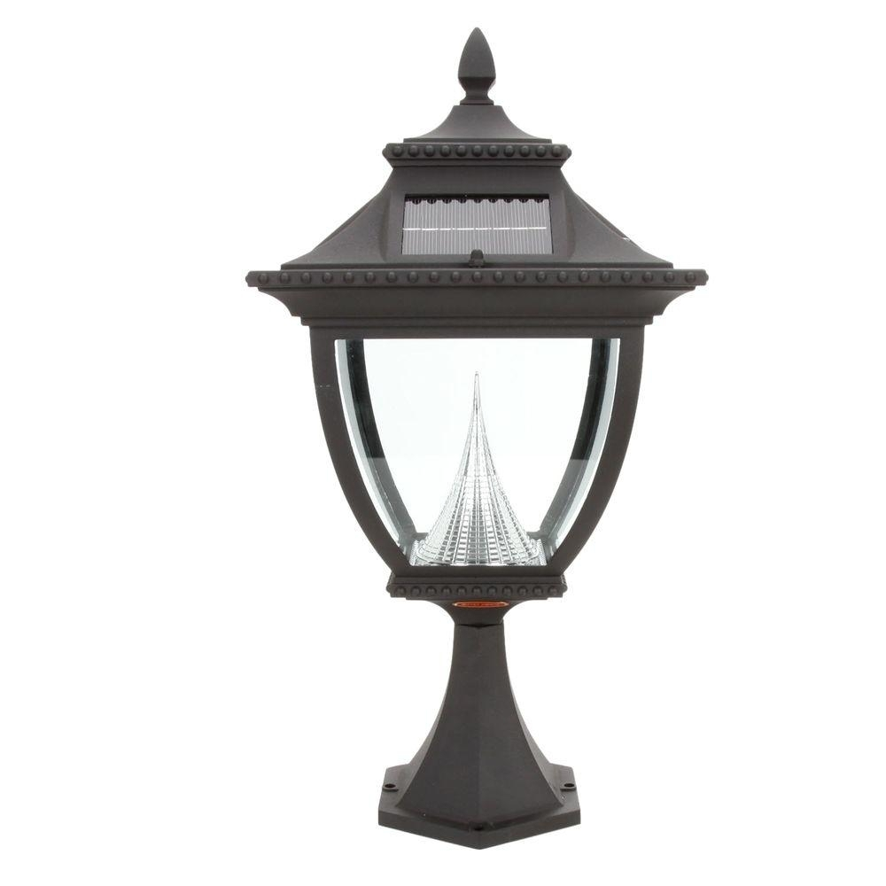 Inspiration about Gama Sonic Pagoda Solar Black Outdoor Led Post Light On Pier Base Gs With Regard To Modern Led Post Lights At  Home Depot (#11 of 15)