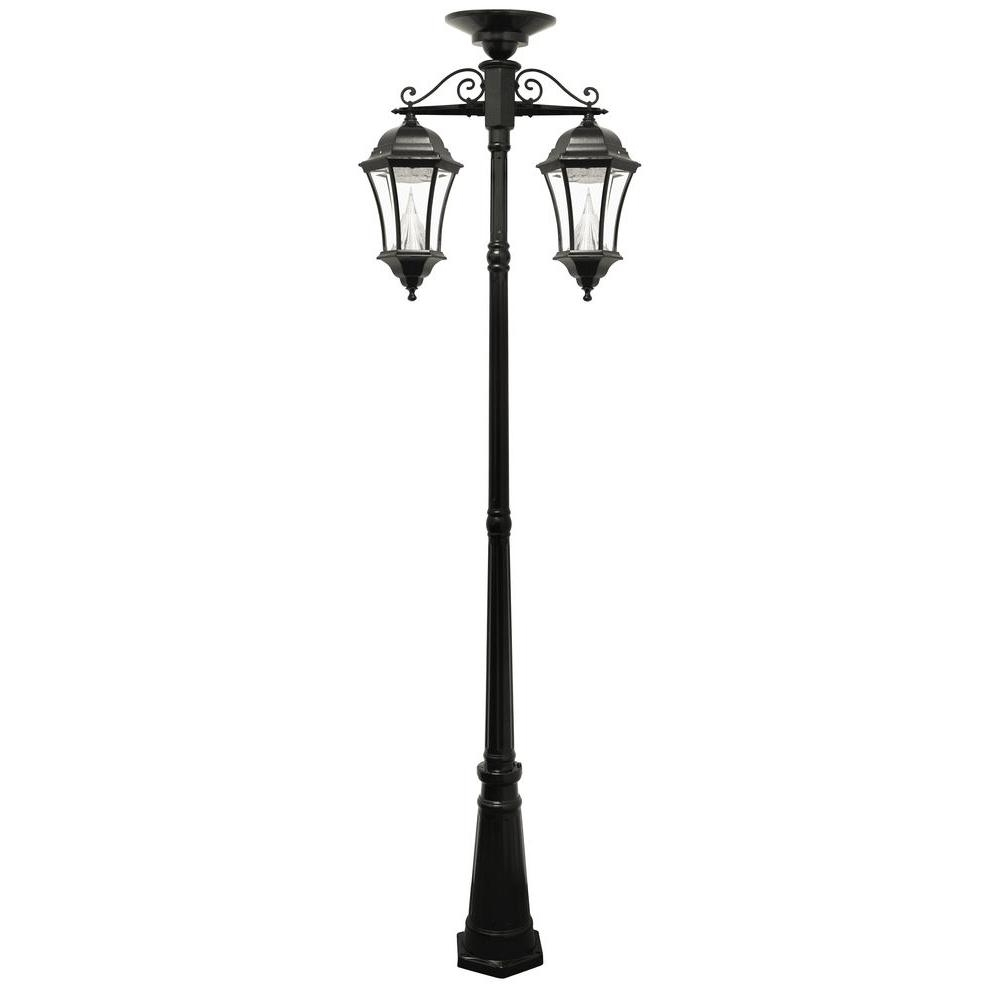 Gama Sonic Victorian Series 2 Head Downward Hanging Black Integrated Within Outdoor Hanging Post Lights (#5 of 15)
