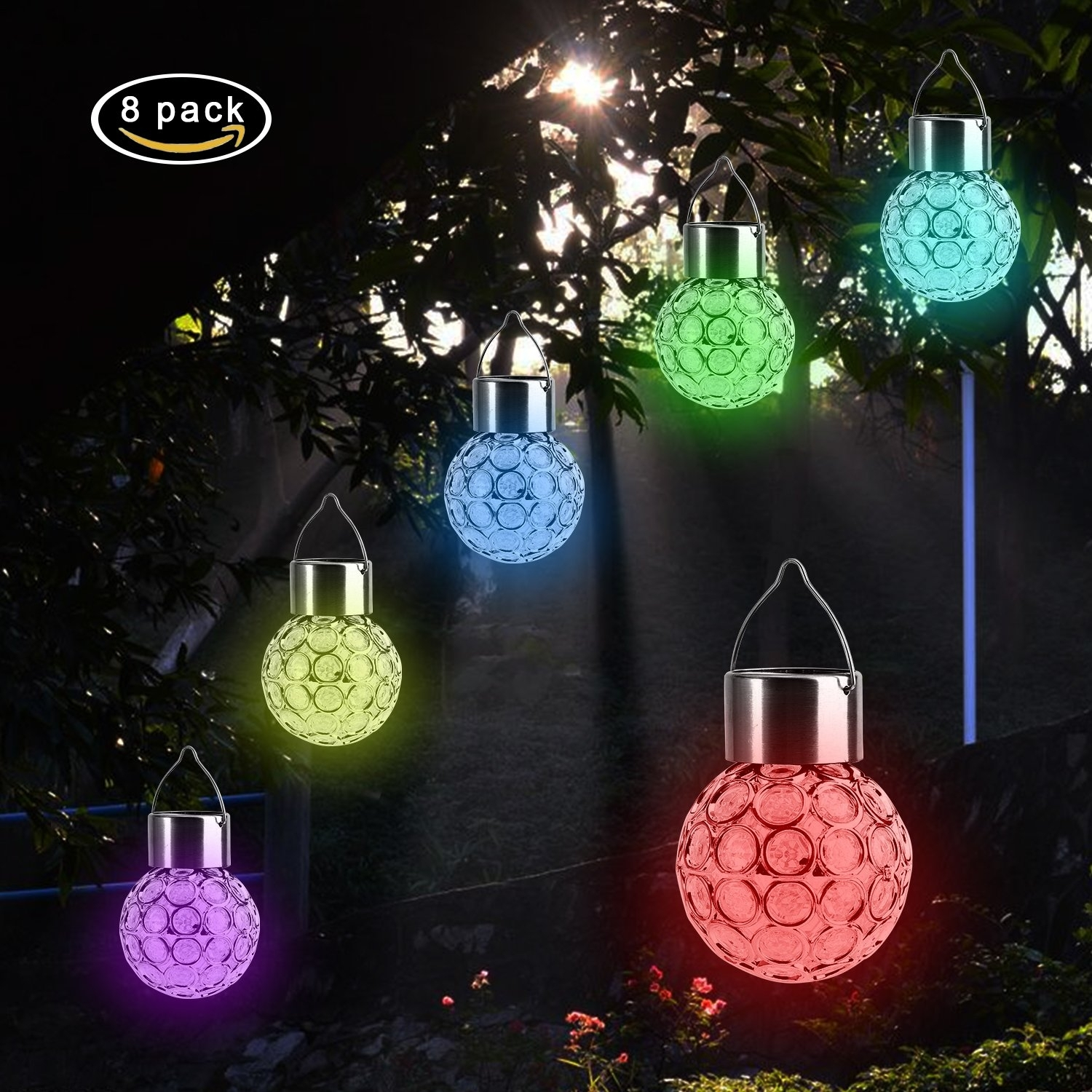 Inspiration about Garden Led Solar Hanging Lights Outdoor (8 Pack), Outdoor Hanging Pertaining To Outdoor Hanging Globe Lanterns (#7 of 15)