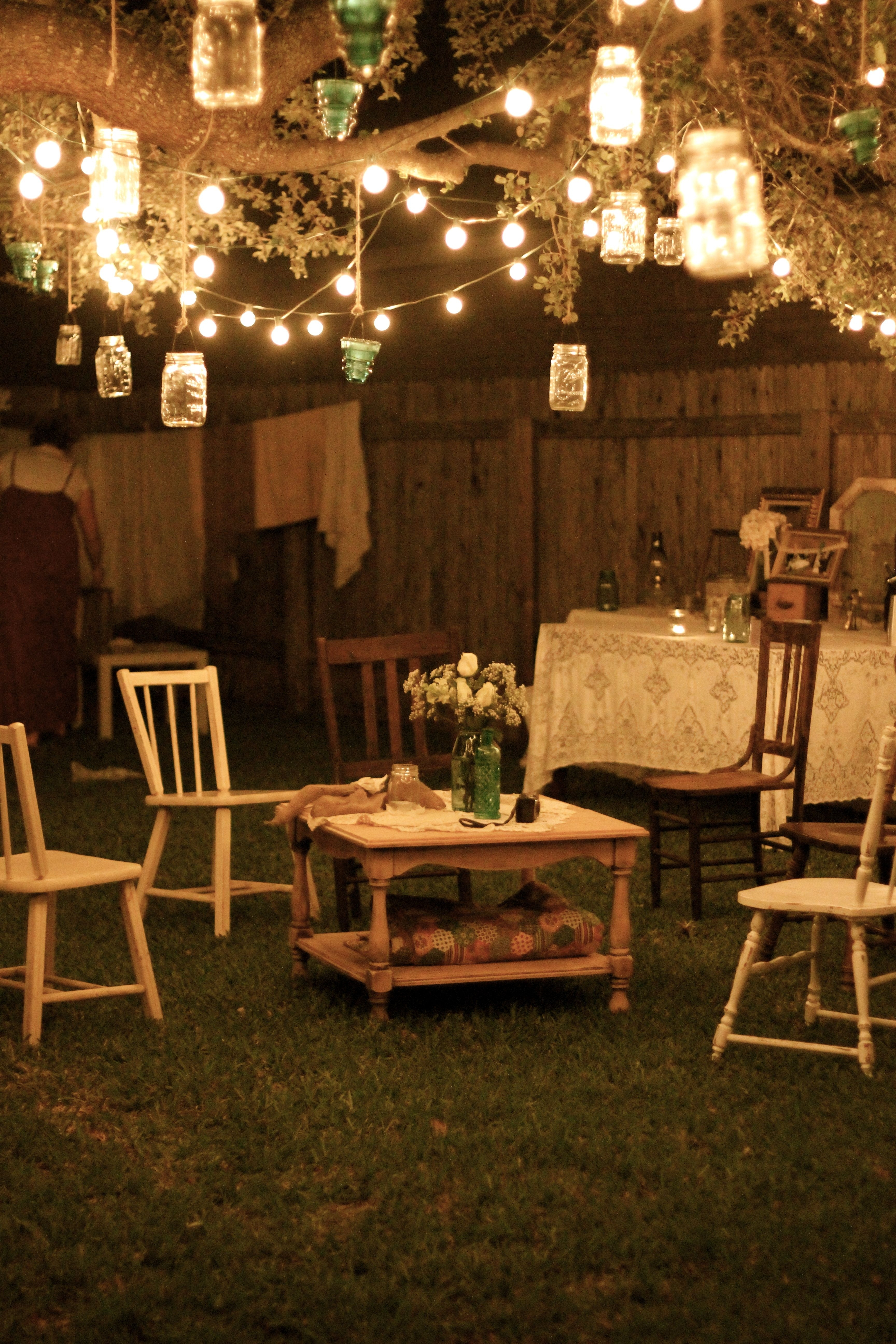 Garden Party At Night; Lanterns Hang From Tree Branches, And Rustic With Regard To Outdoor Hanging Party Lanterns (View 3 of 15)