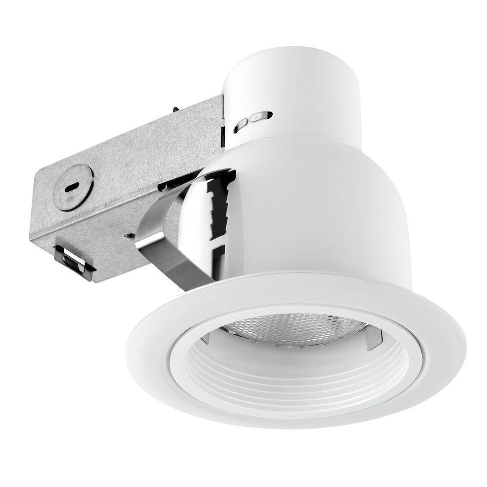 Inspiration about Globe Electric 4 In. Open Indoor/outdoor White Recessed Lighting Kit With Regard To Outdoor Recessed Ceiling Lighting Fixtures (#2 of 15)