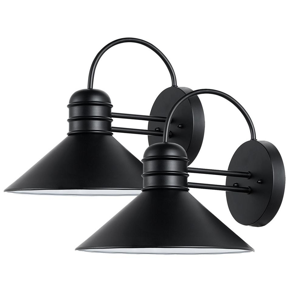 Inspiration about Globe Electric Sebastien 1 Light Black Outdoor Wall Sconce (2 Pack Inside Globe Outdoor Wall Lighting (#13 of 15)