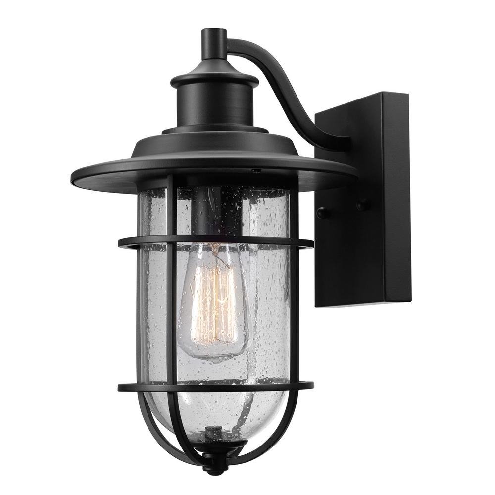 Globe Electric Turner 1 Light Black And Seeded Glass Outdoor Wall Intended For Outdoor Wall Mounted Globe Lights (#7 of 15)