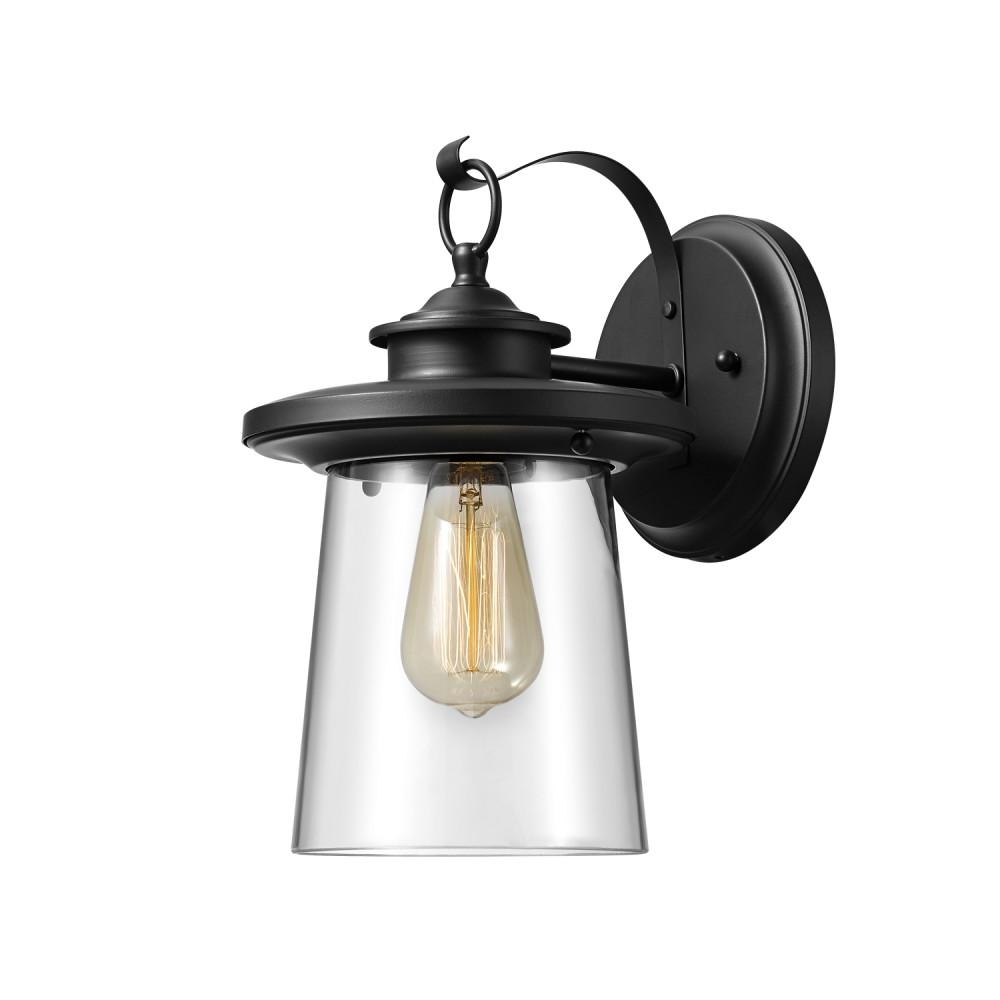 Globe Electric Valmont 1 Light Black Outdoor Wall Mount Sconce 44170 In Outdoor Wall Mounted Globe Lights (#8 of 15)