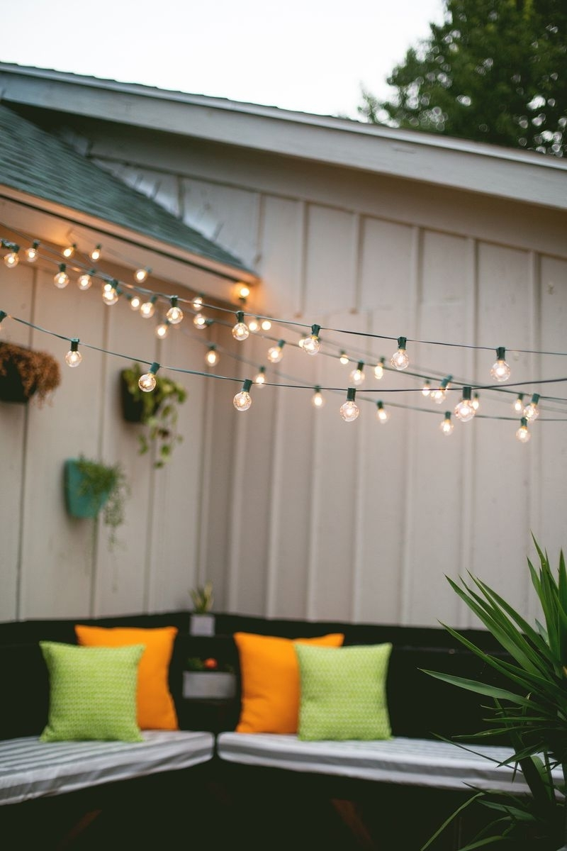 Inspiration about Globe String Lights Outdoor Patio Lantern Over Homeepot Ideas Throughout Hanging Outdoor Lights With Wire (#8 of 15)