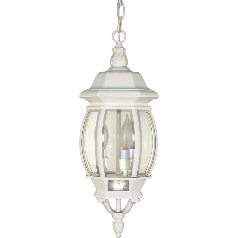 Inspiration about Glomar 3 Light Outdoor White Hanging Lantern With Clear Beveled With Regard To Outdoor Ceiling Hanging Lights (#12 of 15)