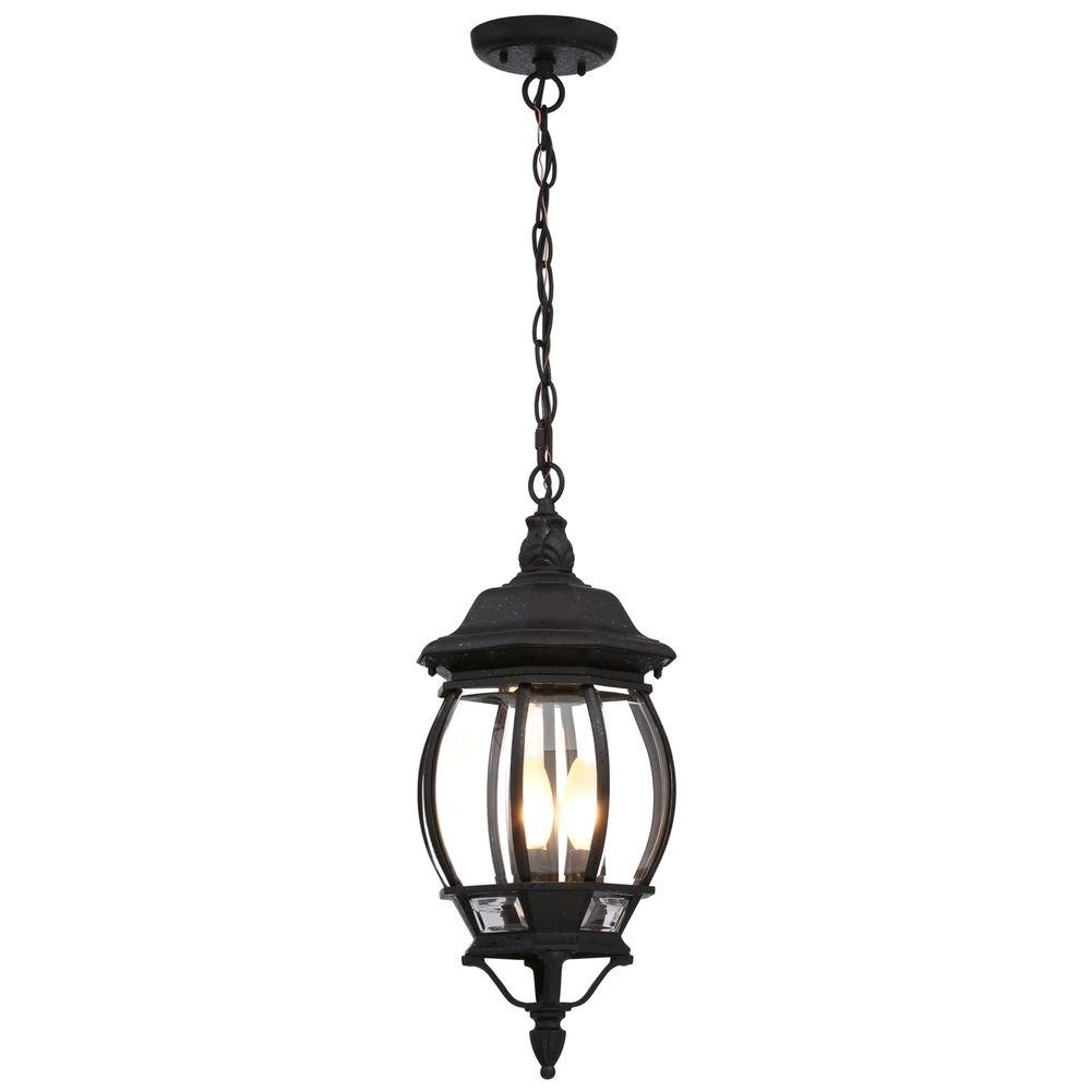 Glomar Concord 3 Light Textured Black Outdoor Hanging Lantern Hd 896 Inside Wayfair Outdoor Hanging Lighting Fixtures (View 9 of 15)