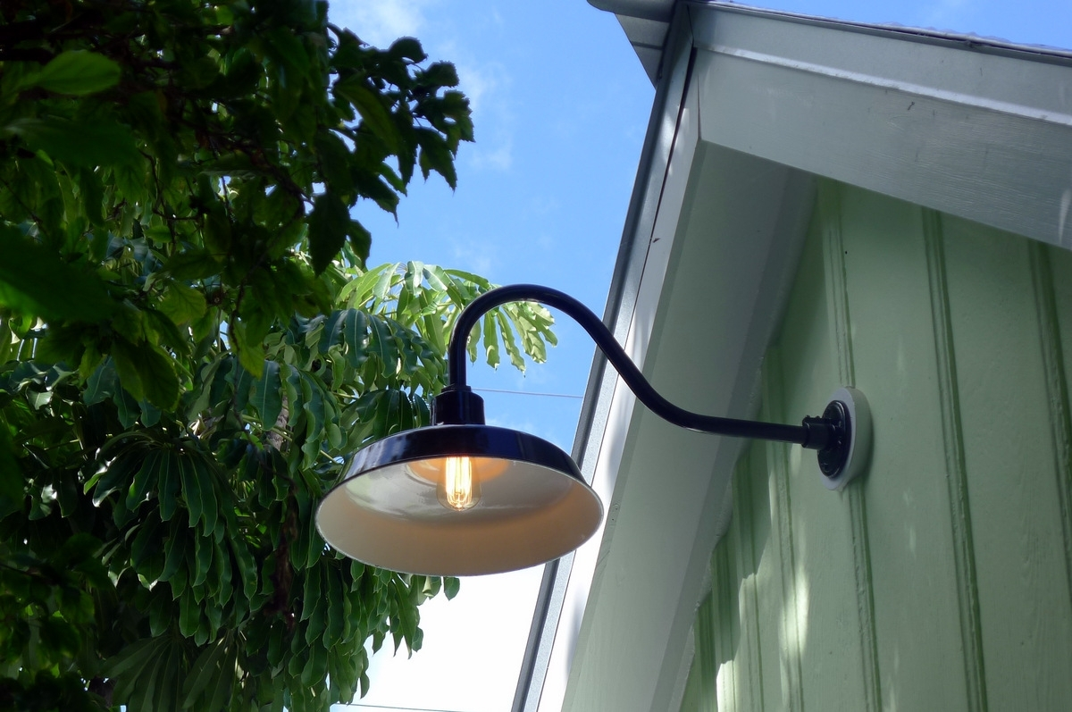 Inspiration about Gooseneck Barn Lights Bring Historic Touch To Conch Style Home Within Outdoor Gooseneck Wall Lighting (#8 of 15)